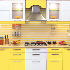 yellow color modular kitchen 1 wall decal